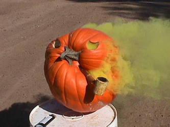 Old Man Pumpkin Smoking by Deviant-Man