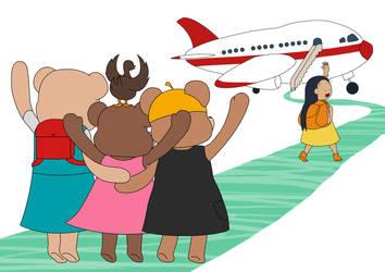 Dovie Adventures - Dovie Boarding the plane by dog-food