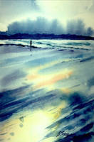 Moody Blue Beach by VogelBird