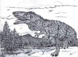 Carcharodontosaurus saharicus by Hueycuetzpalin