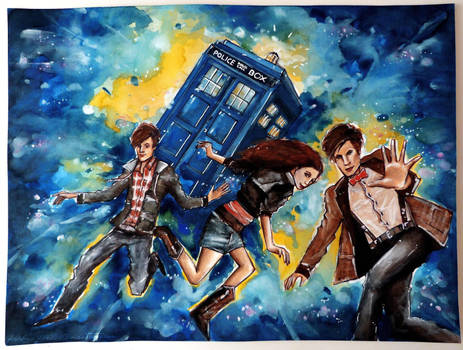 11th Doctor and his companions by Farbenfrei