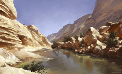 Canyon in the desert by DinoDrawing