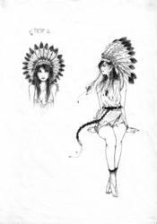 Testing Ink - Indian Girl by AldestDrawings