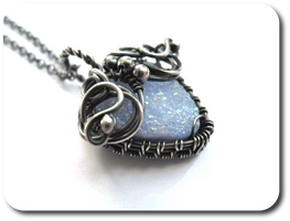 Blue Quartz druzy and fine silver necklace by nurrgula