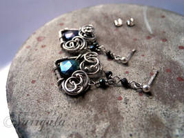 Black Hearts - Silver earrings with Peacock Topaz by nurrgula