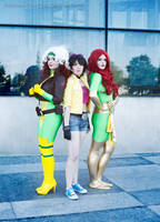 Rogue, Jubilee and Jean Grey Phoenix Cosplay by YozhikandNamie