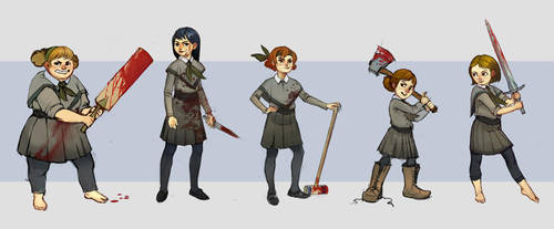 Gril scout zombie fighters by NickWiley