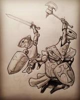Warrior 'Munks (prep sketch) by Edelslav