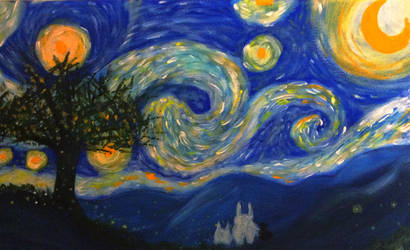 Starry night with totoro by TheCrow33