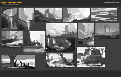 landscape sketches 01 by kate-aconite