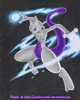 Blue Blaze Mewtwo by GenkoNoMiko
