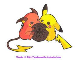 Pikachu x Raichu: Nom Nom Nom by GenkoNoMiko