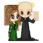 Boudicca Acardi and Voldemort by UszatyArbuz
