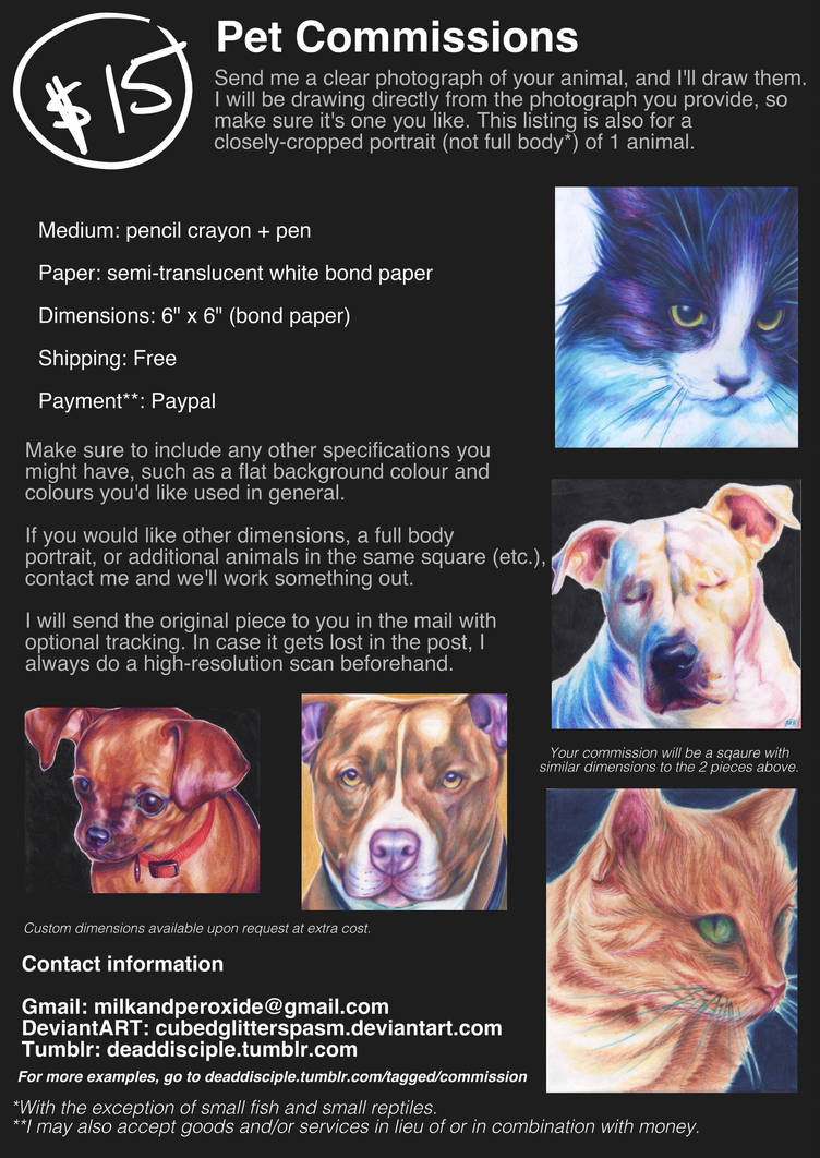 $15 ANIMAL COMMISSIONS: OPEN by ruralgoth