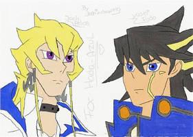 colored jack and yusei redux by matsuri2009