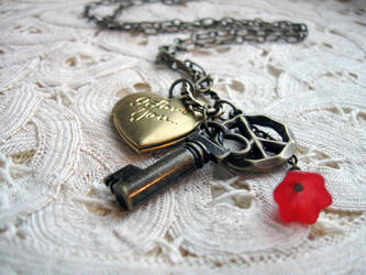 Vintage Love Charm Necklace by candycrack