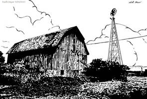 Old Barn (Ink) by KeithMeyerArt