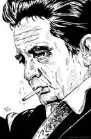 Johnny Cash (Ink) by KeithMeyerArt