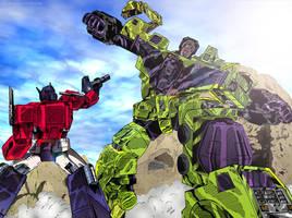 Transformers: Optimus Prime vs Devastator (Color) by KeithMeyerArt