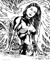 Dark Phoenix (Ink) by KeithMeyerArt