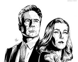 Mulder and Scully (X-Files - Ink) by KeithMeyerArt