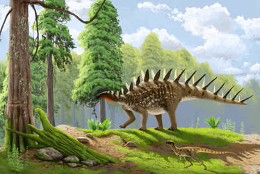 La Amarga Formation stegosaur by Lucas-Attwell