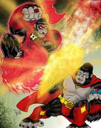 Ultra-Gor vs. Red Lantern Gorilla! Art by Furnygma by Ultra-Gor