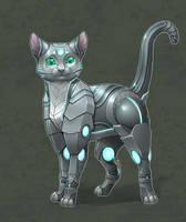 Commission - Anonymous - Robot kitty by shibara-draws-mecha