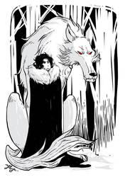 Jon Snow and Ghost by yllya