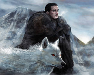 Jon Snow and Ghost. by NicholasOsagie