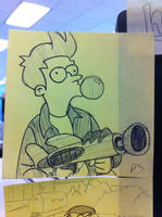 POST-IT-ART: Fry by Saber-Cow