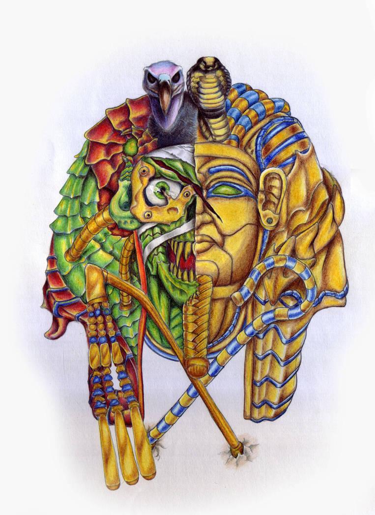 King Tut Zombie Biomech Tattoo Design By Griffongore On Deviantart