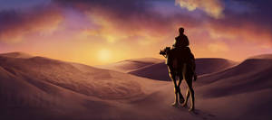 desert sunset by LouhiArt