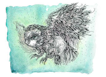 Owl taking Flight by shirua