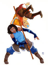 Korra and Aang by robthesentinel