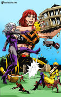 B.Y.G. Girls of Earth-20052 by giantess-fan-comics