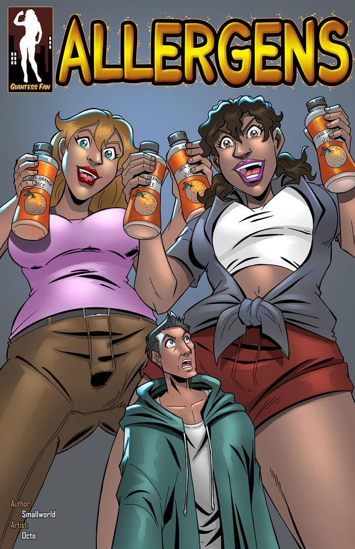 Allergens - Drink and Shrink by giantess-fan-comics