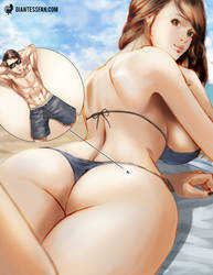 Alone Together at the Beach by giantess-fan-comics