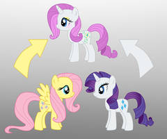 Pony Fusion: Fluttershy And Rarity by Willemijn1991