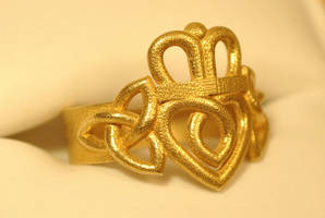 Claddagh Ring Triquetra Knots - Brass by dfoley75