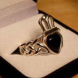 Onyx Claddagh Ring Side View by dfoley75