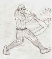 Batter Hitting the Ball by Casey387