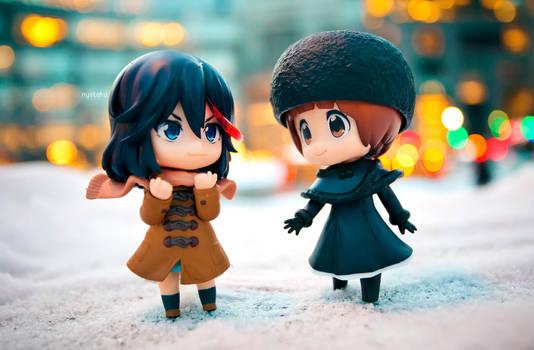 Mako and Ryuko Winter Date by frasbob