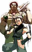 Street Fighter Ibuki and Rolento by oetaro