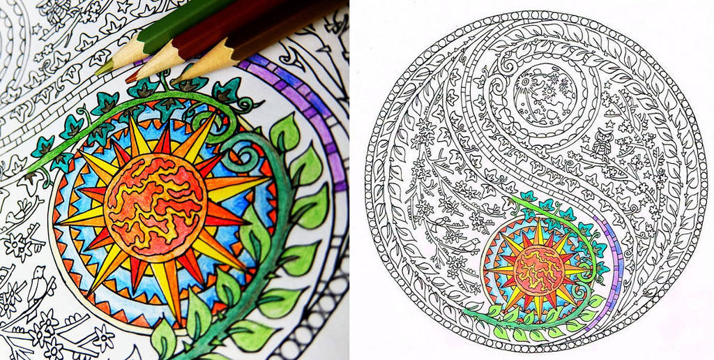 Yin Yang Moon And Sun Coloring Page By Candy Hippie On Deviantart