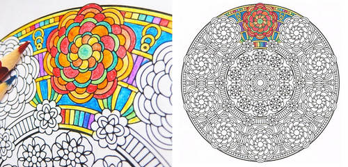 Crown of Gaia - flower coloring page PDF by candy-hippie