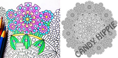 Eye of Gods - complex flower coloring page by candy-hippie