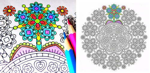 Floret Forest detailed mandala coloring page by candy-hippie
