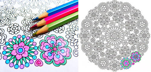 Lace of Love valentine mandala coloring page by candy-hippie