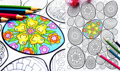 Easter Eggs printable coloring page PDF by candy-hippie